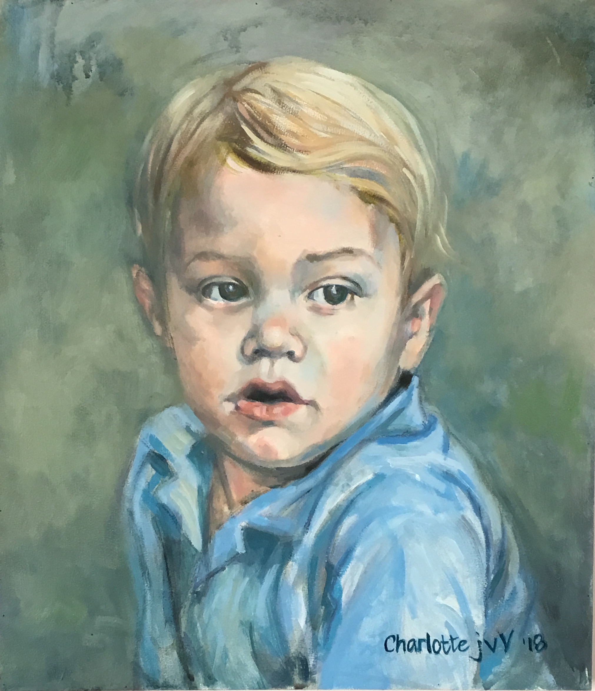 Portrait of Mauritz junior.  Oil on bord.  36 x 46cm